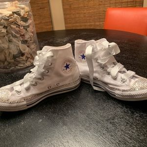 Bedazzled custom white high too converse